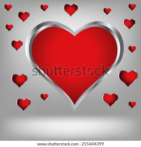 Illustration  with abstract red heart background. Graphic Design Useful For Your Design. Heart background texture design on border. - stock vector