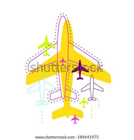 Illustration with airplanes. Line art and flat. Background for the web, print, banner, advertising. - stock vector