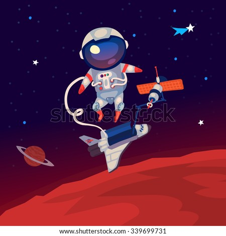 Illustration with an astronaut floating in outer space over Mars near the station and shuttle. - stock vector