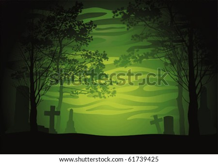 Illustration with an evening cemetery for a background. A celebratory card.