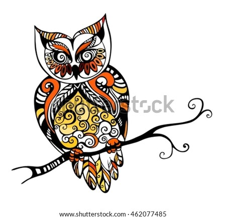 illustration with an owl