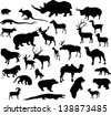 illustration with animal silhouettes collection isolated on white background - stock vector