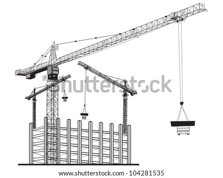 Illustration  with apartment building and cranes. - stock vector