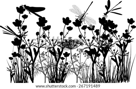 illustration with black flowers and grass isolated on white background - stock vector