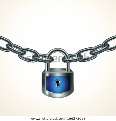 Illustration with blue lock and chain. Protection concept.