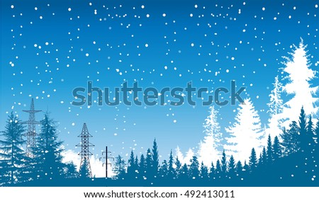 illustration with blue winter forest