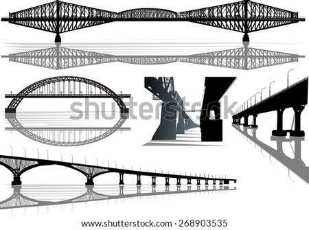 illustration with bridges collection isolated on white background - stock vector