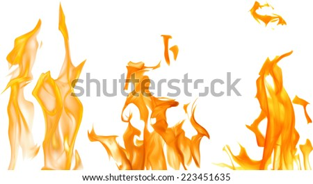 illustration with bright flames on white background - stock vector