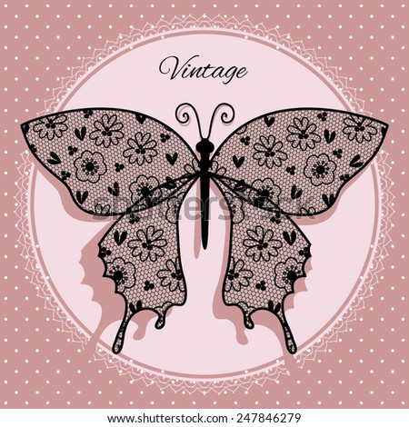 Illustration with butterfly lace. Vintage. - stock vector