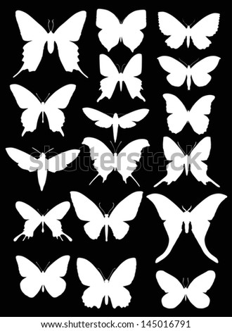 illustration with butterfly silhouettes collection isolated on black background - stock vector