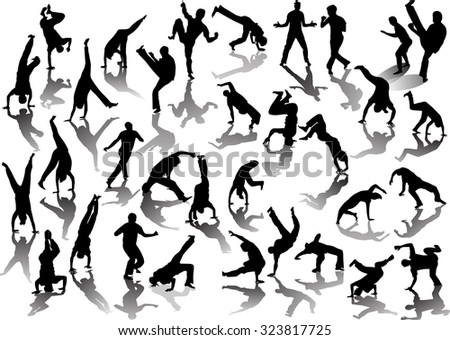 illustration with capoeiristas silhouettes isolated on white background
