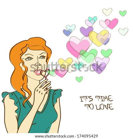 Illustration with cartoon beautiful girl blowing heart soap bubbles
