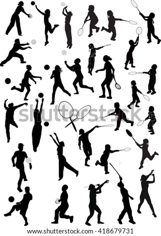 illustration with child silhouettes collection isolated on white background