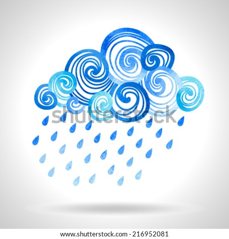 Illustration with cloud and rain drops - stock vector