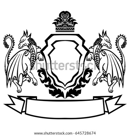 illustration coat arms dragons tattoo design element stock vector rh shutterstock com coat of arms vector download medieval coat of arms vector