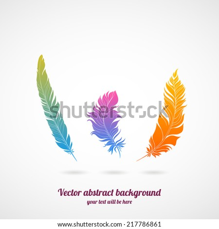 illustration with color feathers - stock vector