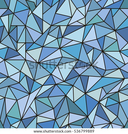 Illustration with colorful mosaic. Abstract stained glass window. Vector seamless pattern