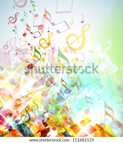 Illustration with colorful shattered elements and musical notes. - stock vector