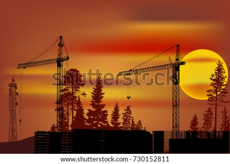 illustration with construction of a building at red sunset