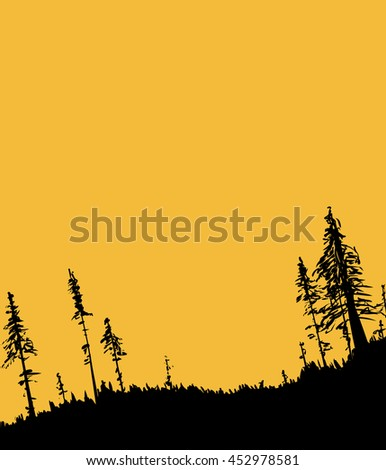 Illustration with copy space of Swedish forest woodland from low angle as nature background