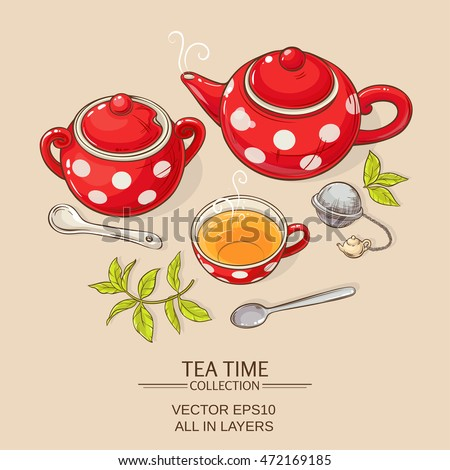 Illustration with cup of tea, teapot and sugar bowl on brown background