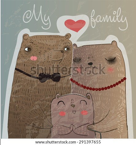 illustration with cute bear family - stock vector