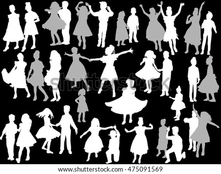 illustration with dancing child silhouettes collection isolated on black background