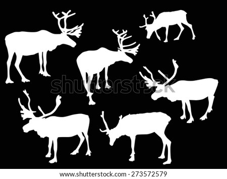 illustration with deer silhouettes isolated on black background
