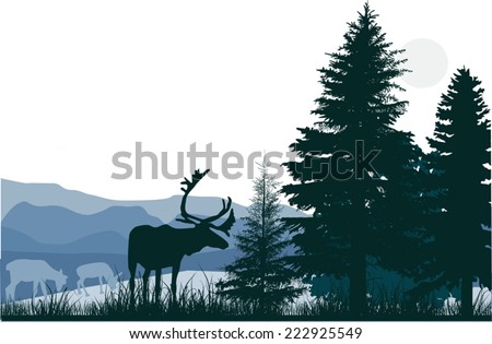 illustration with deers in green forest - stock vector