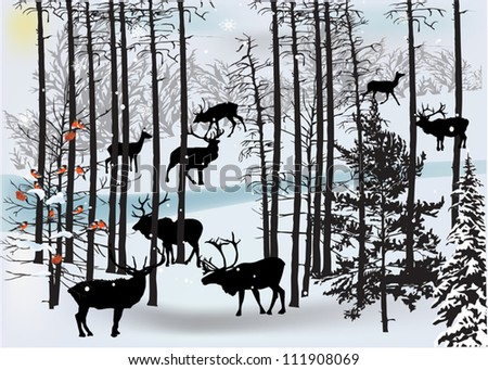 illustration with deers in white winter landscape - stock vector