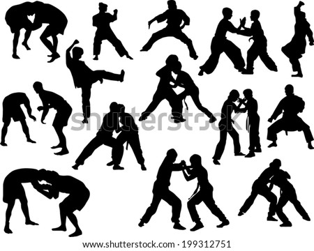 illustration with different fighter silhouettes isolated on white background - stock vector