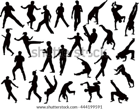 illustration with different fighter silhouettes isolated on white background
