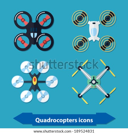 Illustration with different quadrocopters icons in flat style - stock vector