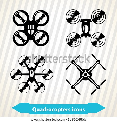 Illustration with different quadrocopters icons in minimal style - stock vector