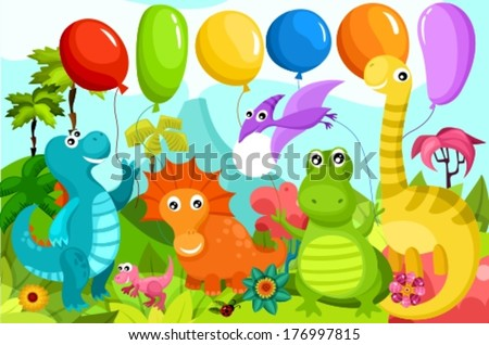 illustration with dinosaurs - stock vector