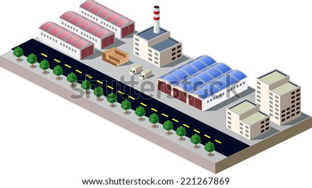 Illustration with elements of urban and industrial buildings - stock vector
