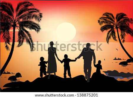 illustration with family and palm trees silhouettes at sea sunset