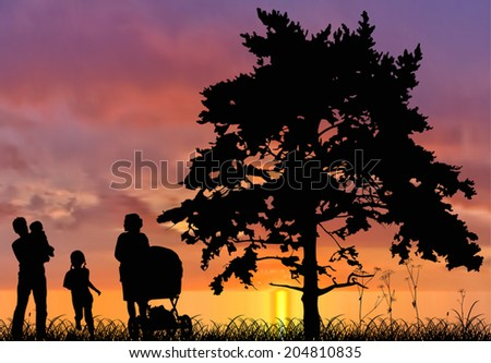 illustration with family and tree silhouettes at sunset - stock vector