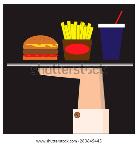 Illustration with fast food - stock vector