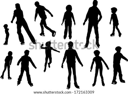 illustration with figure skater silhouettes isolated on white background