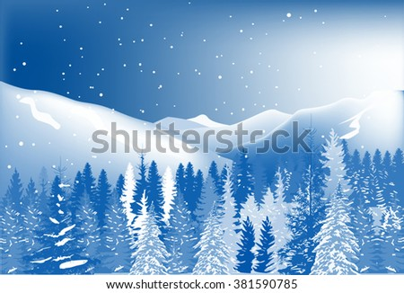 illustration with fir forest under snow in mountains