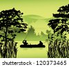 illustration with fishermen silhouette in forest lake - stock vector