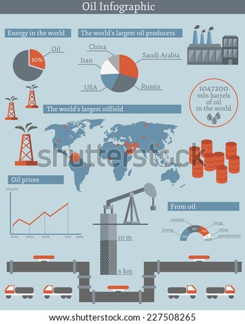 Illustration with flat Oil Infographic - stock vector
