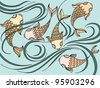 Illustration with floating fish in the sea - stock photo