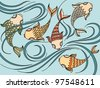 Illustration with floating fish in the sea - stock vector