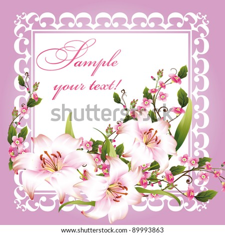 illustration with floral frame decoration on white background - stock vector