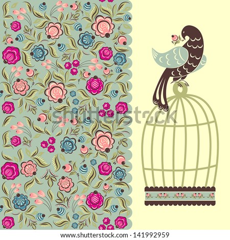illustration with flowers and a bird cage