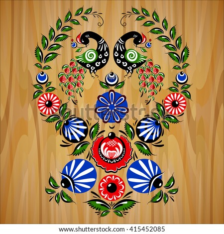 Illustration with flowers and birds in the Russian traditional style (Gorodets). - stock vector