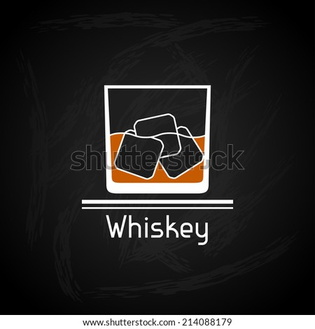 Illustration with glass of whiskey for menu cover. - stock vector
