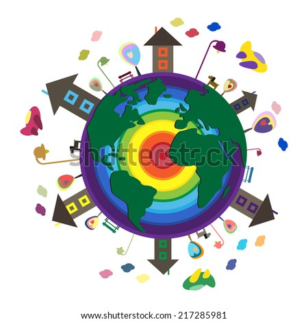 Illustration with globe. Around the World. Illustration with planet.  - stock vector